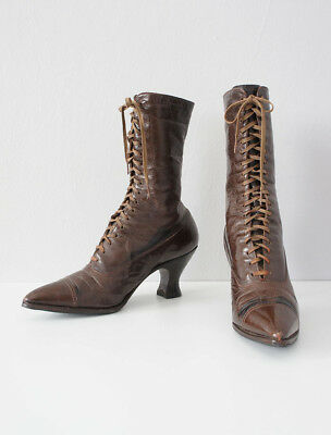Antique Late 1910's Early 1920's Walk-Over Brown High Top Lace-up Leather Boots