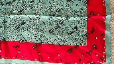 Vintage Hand Rolled PURE SILK SCARF Japan Horse Carriage Aqua Red Black