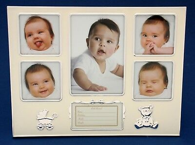 Baby Photo Frame Silver 5 Hole Collage Newborn Girl Boy Baby Shower Gift Present