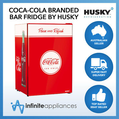 118L Officially Licensed Coca-Cola Solid Door Undercounter Bar Fridge by Husky