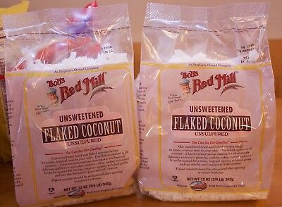 (2 pk) Bob's Red Mill Flaked Coconut 12oz, unsweetened flakes, unsulfured
