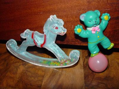 Hard To Find Vintage Baby Rattlers/Baby Rattles Rocking Horse Teddy Bear Rattle
