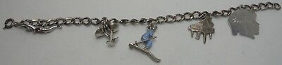 Rare Antique Sterling Silver Charm Bracelet W 5 Charms Skier Swimmer