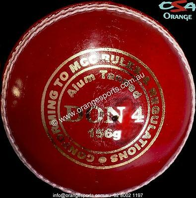 1 x DON 4PC RED ALUM TANNED Cricket Balls by ORANGE SPORTS + AU STOCK