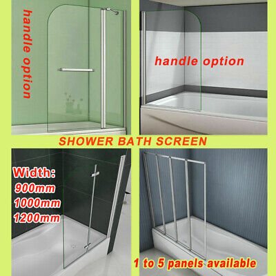 New 1400mm Glass Over Bath Hinge Pivot Folding Shower Screen Door Panel & Seal