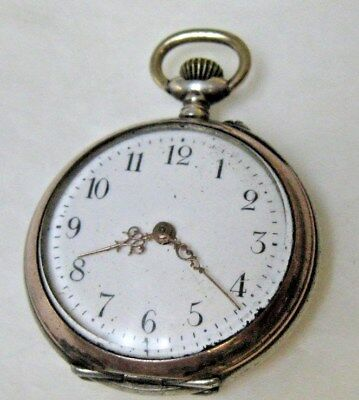 Antique Ladies Pendant Pocket Watch Cylinder Movement .800 Silver Case
