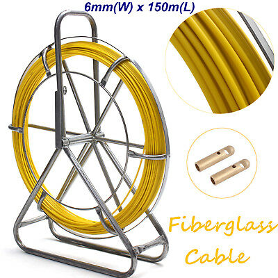 6mm x 150m FiberGlass Fiber Glass Wire Cable Fish Snake Rod Rodder Duct Puller