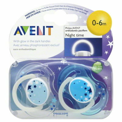 Philips Avent SCF176/18 2-Pack Orthodontic Soother 0-6m Night Time - Blue