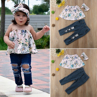 US 3PCS Toddler Kids Baby Girl Clothes Tops +Ripped Leggings Pants Outfits Set