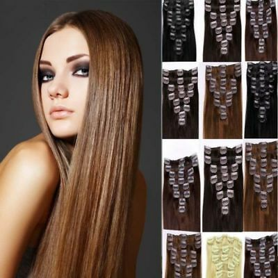 8PC 22'' Clip In Straight Hair Extensions Synthetic Long Thickness Hairpieces