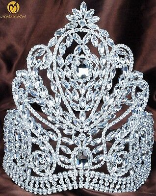 "Large 9"" Tiara Crown AB Crystal Wedding Headpiece Rhinestone Beauty Pageant Prom"
