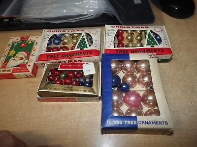 """Large Lot Of Vintage Miniature Christmas Ornaments Shiny Brite More .75"""" Glass"""