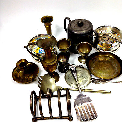 Lot of Vintage Brass & Silver Plated Items