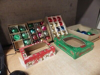 Large Lot Of Vintage Glass Christmas Ornaments Shiny Brite And More Lot Of 40