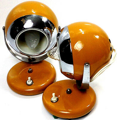 2 x Retro Mid Century Vintage JET AGE Burnt Orange EYE  BALL Wall LAMPS Atomic