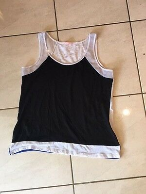 Ladies Size 16 Black, White And Blue Tank Top By Hot Options.