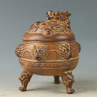 Chinese Yixing Sand-fired(ZiSha)  Incense Burner Hand Carved Dragon Head RZ002+1