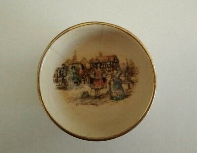 Antique England Staffordshire  small dish, miniture painting on porcelain
