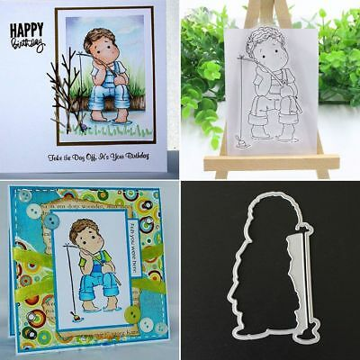 Fishing Boy Clear Transparent Stamps& Metal Cutting Dies Stencils for DIY Crafts