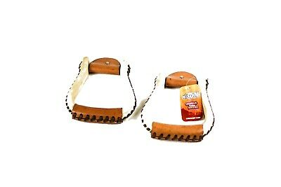 Western Natural Leather Rawhide stirrups 1 inch wide