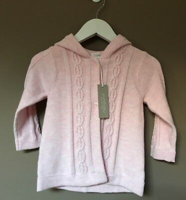 Purebaby BabyGirl Cable Cardigan With Hood Size 12-18 Months RRP$69.95