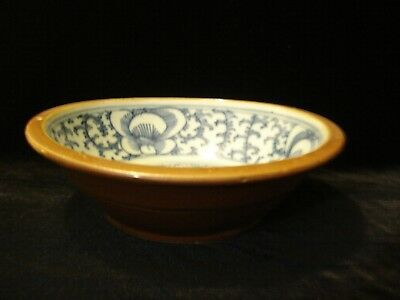 China Qing Dynasty Brown Blue White Bowl Certificate of Authencity