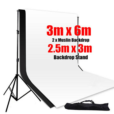 3M X 6M Photography Photo Studio Muslin Backdrop & Background Support Stand Kit