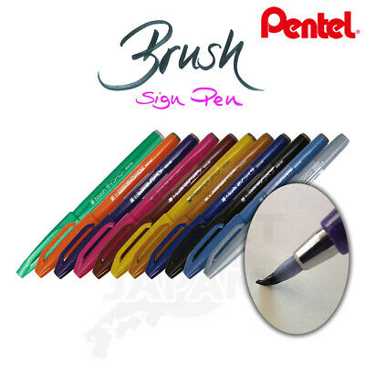 Pentel Fude Touch Brush Sign Pen in 12 Colours Ideal for Calligraphy and Art!
