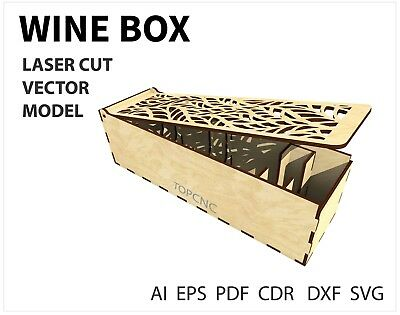 FILE DXF CDR EPS AI SVG for Laser Cut or CNC ROUTER WINE  BOX VECTOR FILE
