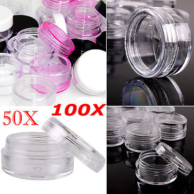 5ML Clear Plastic Empty Cosmetic Sample Pots Art Craft Storage Containers Jars