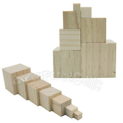 10/15/25/30/35/40/50mm Unfinished Wooden Square Blocks Cubes For Woodwork DIY