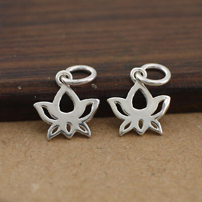 2x klein Anhänger Lotus 925er Sterling Silber Dangle Charm Bead DIY A2218
