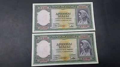 Greece 1000  Drachmai Banknotes 1939 Consecutive Numbers