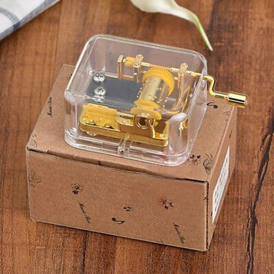 Acrylic Gold Mechanical Hand Crank Music Box Many Songs Movement Kid Girl Gifts