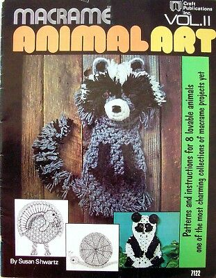 Vintage Macrame Book 1976 - MACRAME ANIMAL ART - 8 Patterns & Instructions - VGC