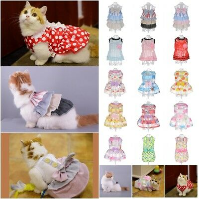 Summer Small Pet Dog Flower Tutu Dress Puppy Cat Vest Bow Skirt Apparel Clothes
