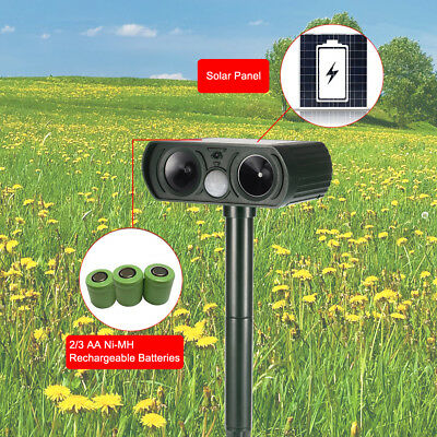 Outdoor Solar Power Ultrasonic Pest Animal Repeller Garden Lawn Repellent BI958