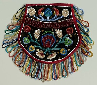 Antique Mid 19Th C Native American Beaded Beadwork Flat Bag / Pouch  - Iroquois