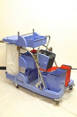 Numatic NCT-7 Combi Twin Janitorial Trolley with foot pedal for mop squeezer