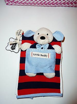 NWT MUD PIE BABY Little Buddy Rugby Stripe Navy Rattle Matching Burp Cloth Gift