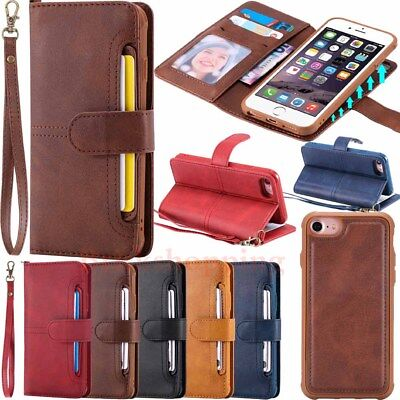Magnetic Removable Leather Wallet Flip Case Cover For iPhone X 8 7 Samsung S9 S8