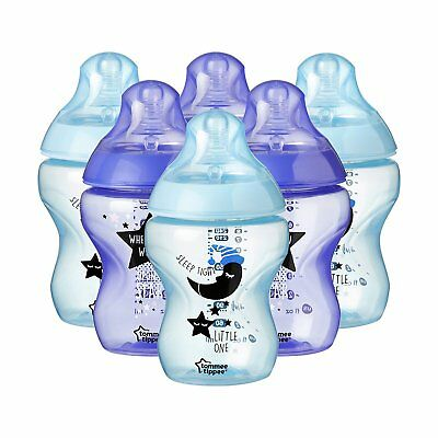 Tommee Tippee Closer to nature Decorated Bottles 260 ml Blue/Purple Pack of 6