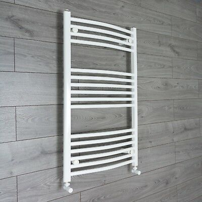 1000 x 500 mm Curved White Heated Towel Rail Radiator Central Heating / Electric