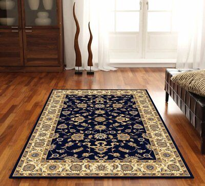 Classic Rug Navy with Ivory Border Traditional Rugs Floor Carpet Home