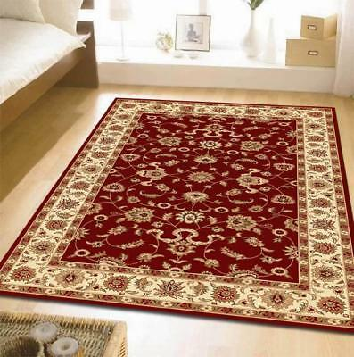 Classic Rug Red with Ivory Border Traditional Rugs Floor Carpet Home