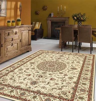 Medallion Rug Ivory with Ivory Border Traditional Rugs Floor Carpet Home