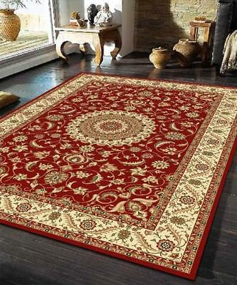 Medallion Rug Red with Ivory Border Traditional Rugs Floor Carpet Home