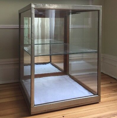 Display Case Nickel Brass Glass Oak Wood Large Antique General Store Counter