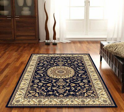 Medallion Rug Navy with Ivory Border Traditional Rugs Floor Carpet Home