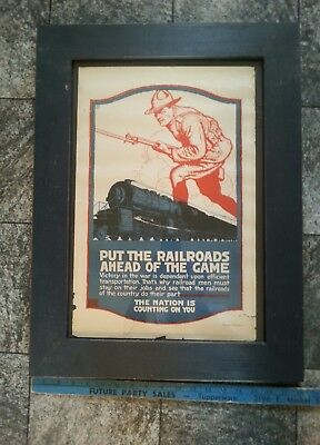 Old WWII Steam Train & Recruiting Soldier Poster